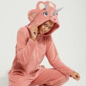 Rue 21 Women's Dino Plush Hooded One Piece Pajamas